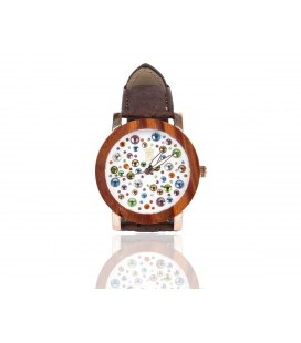 Wooden clock with dark cork strap and multicolored background