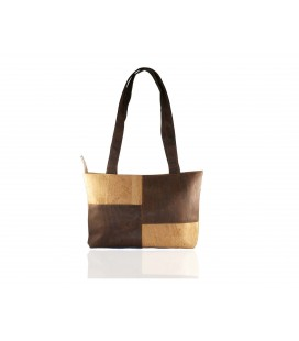 Checked cork handbag