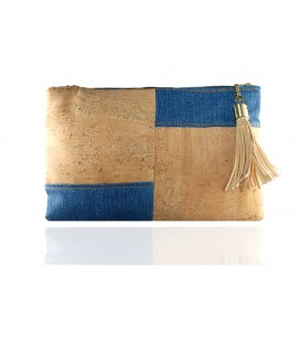 Cork and denim handbag