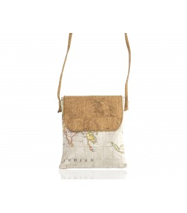 Cork messenger bag, patterned maps