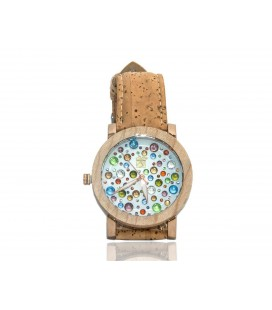 Wooden clock with strap, cork, and multicolored background