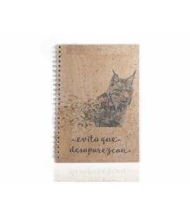 "Cork Notebook ""Lynx"""