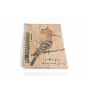 "Cork Notebook ""Hoopoe"""