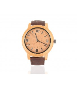 Wooden clock and Natural Background Strap Dark