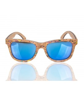 Blue Wood and Cork Sunglasses